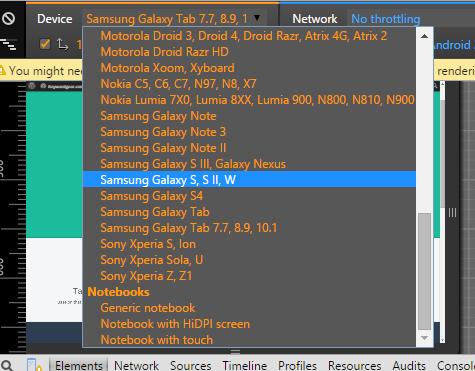 google Chrome mobile emulator