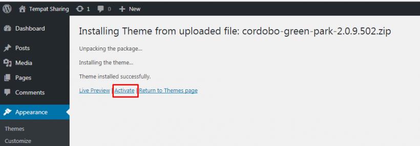 Aktifkan Theme WordPress
