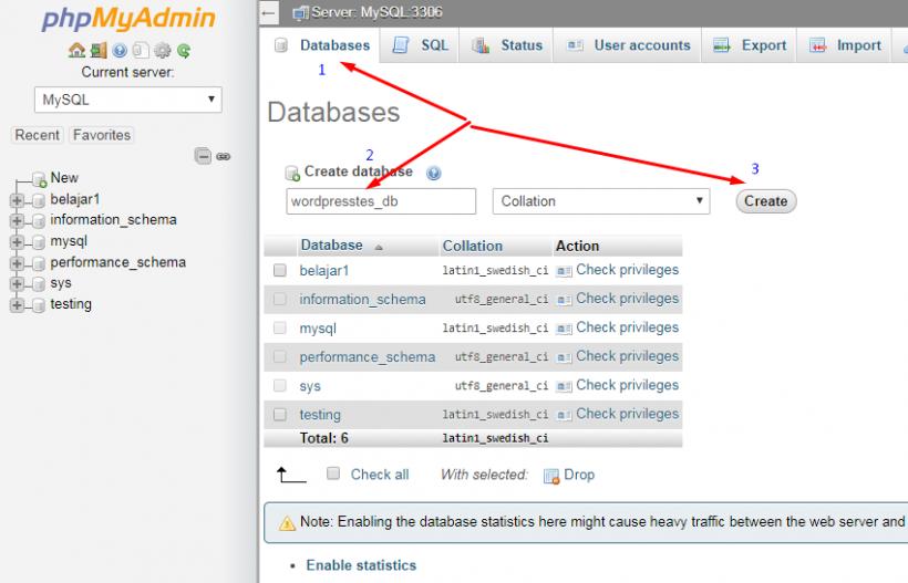 Buat Database Baru di phpMyAdmin