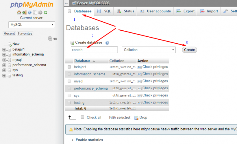 Buat Database MySQL Baru di phpMyAdmin