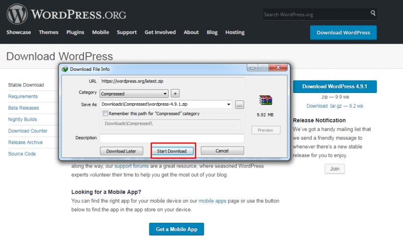 Dowload WordPress 4.9.1 menggunakan IDM