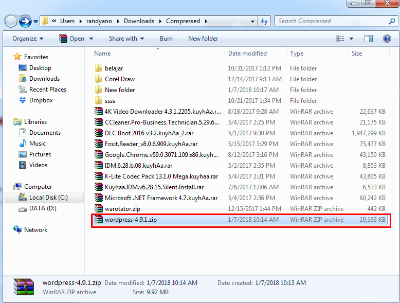 File WordPress yang Berhasil di Download