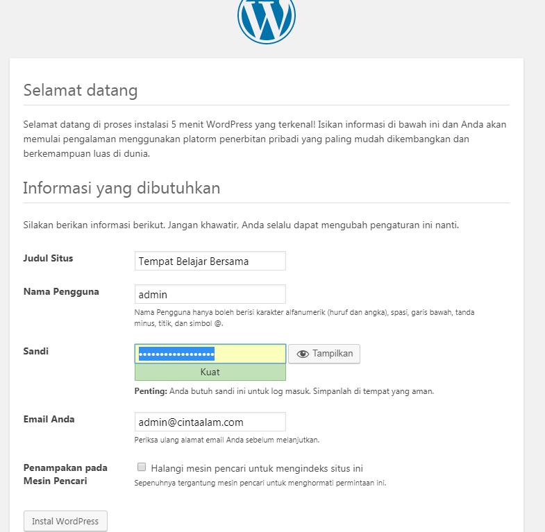 Form Instalasi WordPress