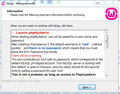 Halaman Informasi tentang WAMPServer