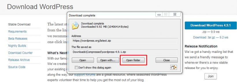 Klik Open Folder Untuk Membuka File Download WordPress