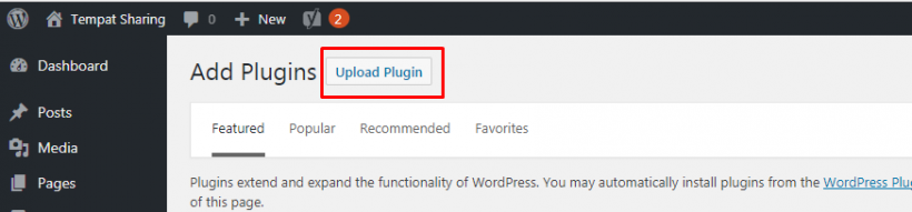 Klik Upload Plugin