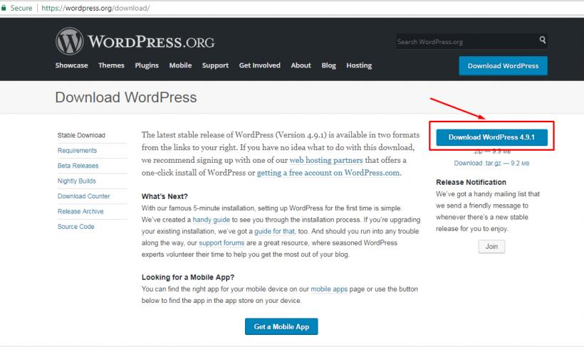 Laman Download WordPress 4.9.1