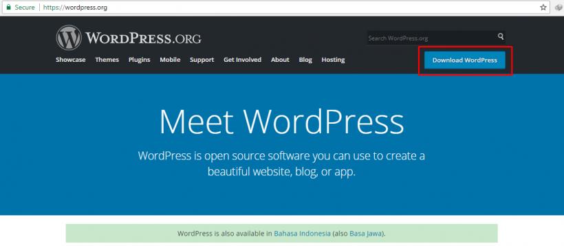 Laman wordpress.org