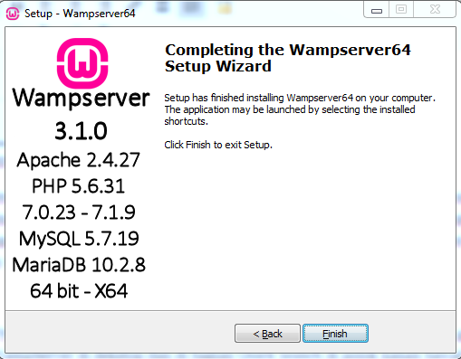 Proses Instalasi WampServer Berhasil