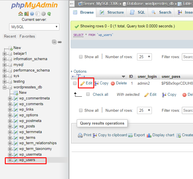 Reset Password Admin via phpMyAdmin