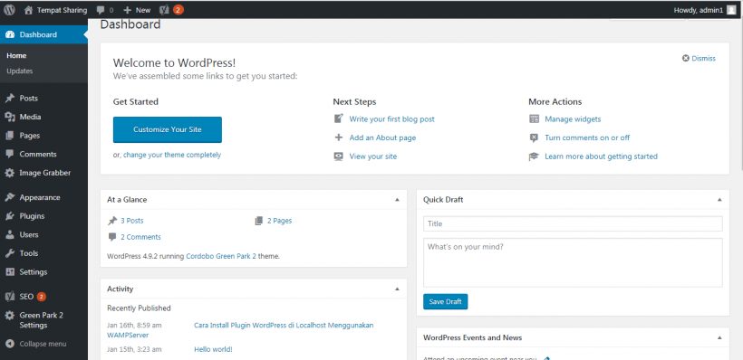 Tampilan Halaman Dashboard WordPress Blog Lain