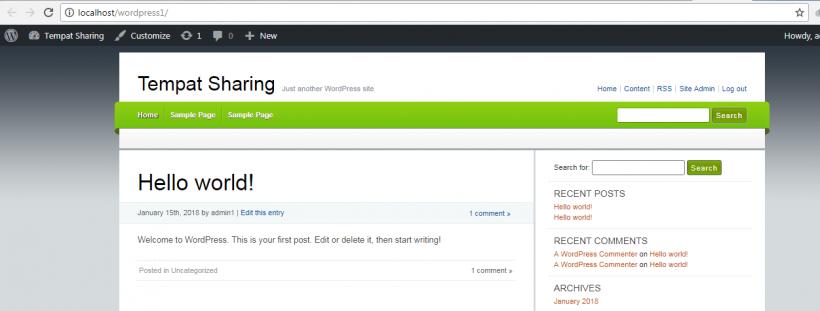 Tampilan Theme WordPress Baru