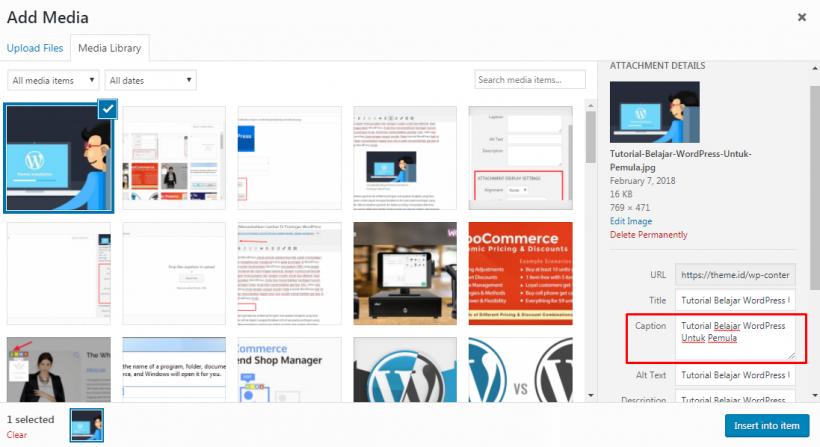 Cara Menambahkan Caption Image di WordPress
