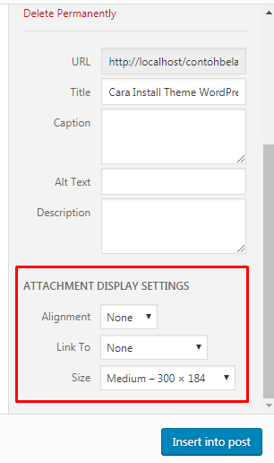 Pengaturan Lampiran atau Attach Gambar