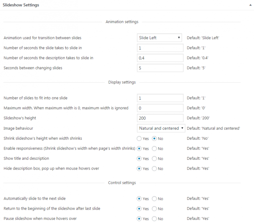 Settings Slideshow di WordPress