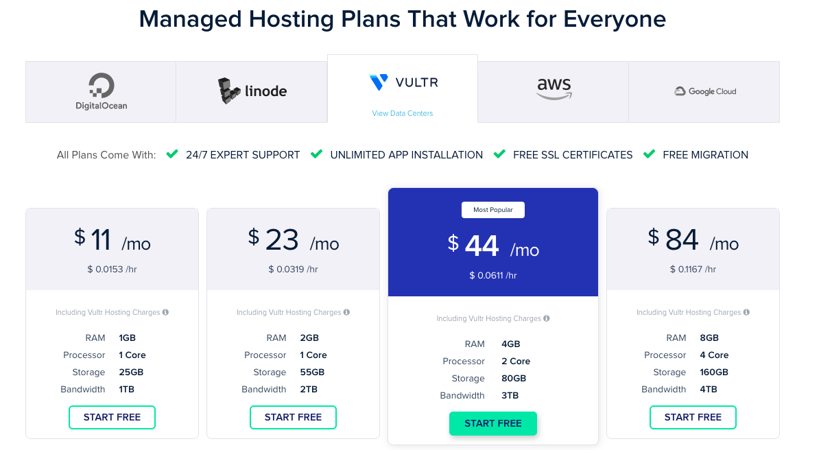 Contoh table harga Manage Hosting